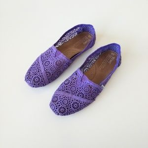 Toms Purple Lace Slip On Flats 8 Womens